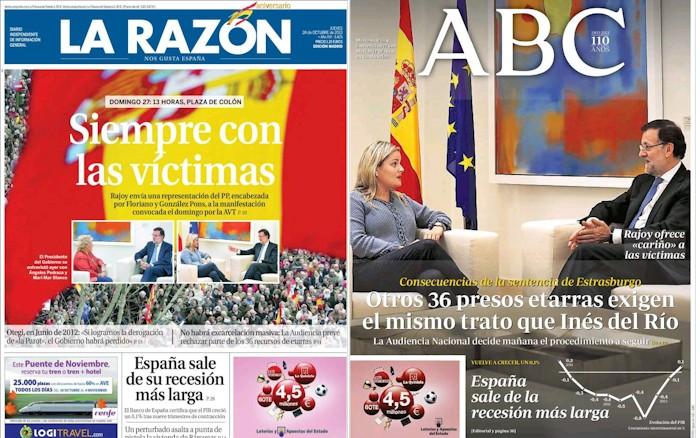 'La Razón' y 'ABC', 24 de octubre.