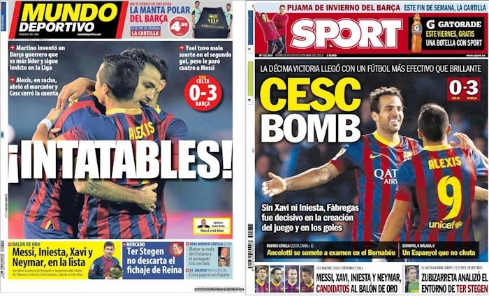 'Mundo Deportivo' y 'Sport', 30 de octubre de 2013.