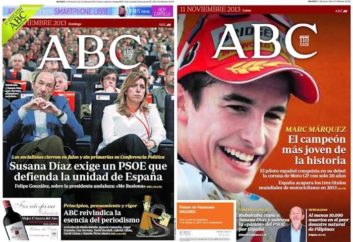 Portadas de 'ABC' del 11 y 12 de noviembre de 2013.